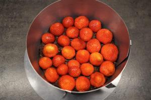 5) Erdbeeren auf dem Boden verteilen
