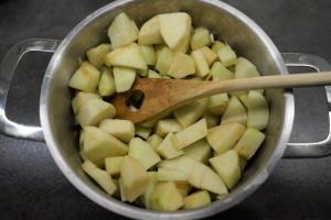 4) Äpfel schälen, mit Zitronensaft und Wasser erhitzen