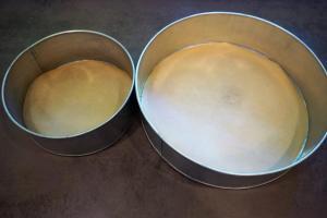 1) Formen mit Backpapier auslegen, Biskuit zubereiten