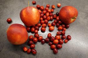 6) Cranberries und Äpfel waschen. Cranberries, Wasser, ...