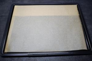 1) Backblech mit Backpapier auslegen. Ofen vorheizen