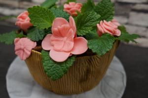14) Die frische Minze in den Kuchen stecken