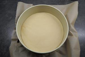 1) Ofen vorheizen und Springform mit Backpapier auslegen