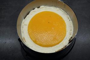 18) Etwas Füllung auftragen, dann die Fruchteinlage auflegen und mit Füllung bedecken