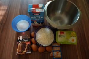 1) Zutaten für den Mamorkuchen